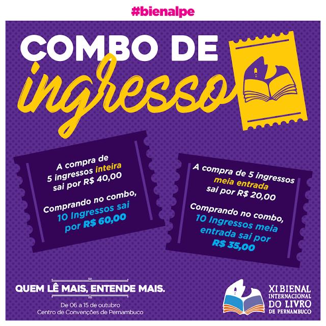 valor dos ingressos para   Bienal do Livro de Pernambuco