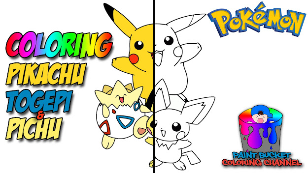 Coloring Pikachu Togepi Pichu  Pokemon Coloring Page For Kids To Learn  Colors