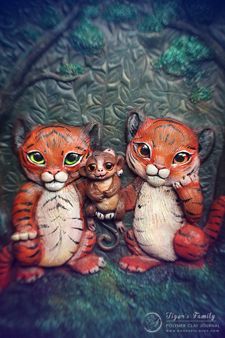 animal tiger cat furry diary book beast creature SIBERIAN TIGER Polymer Clay Journal Tutorial