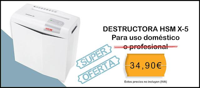 Oferta del mes destructora de papel doméstica