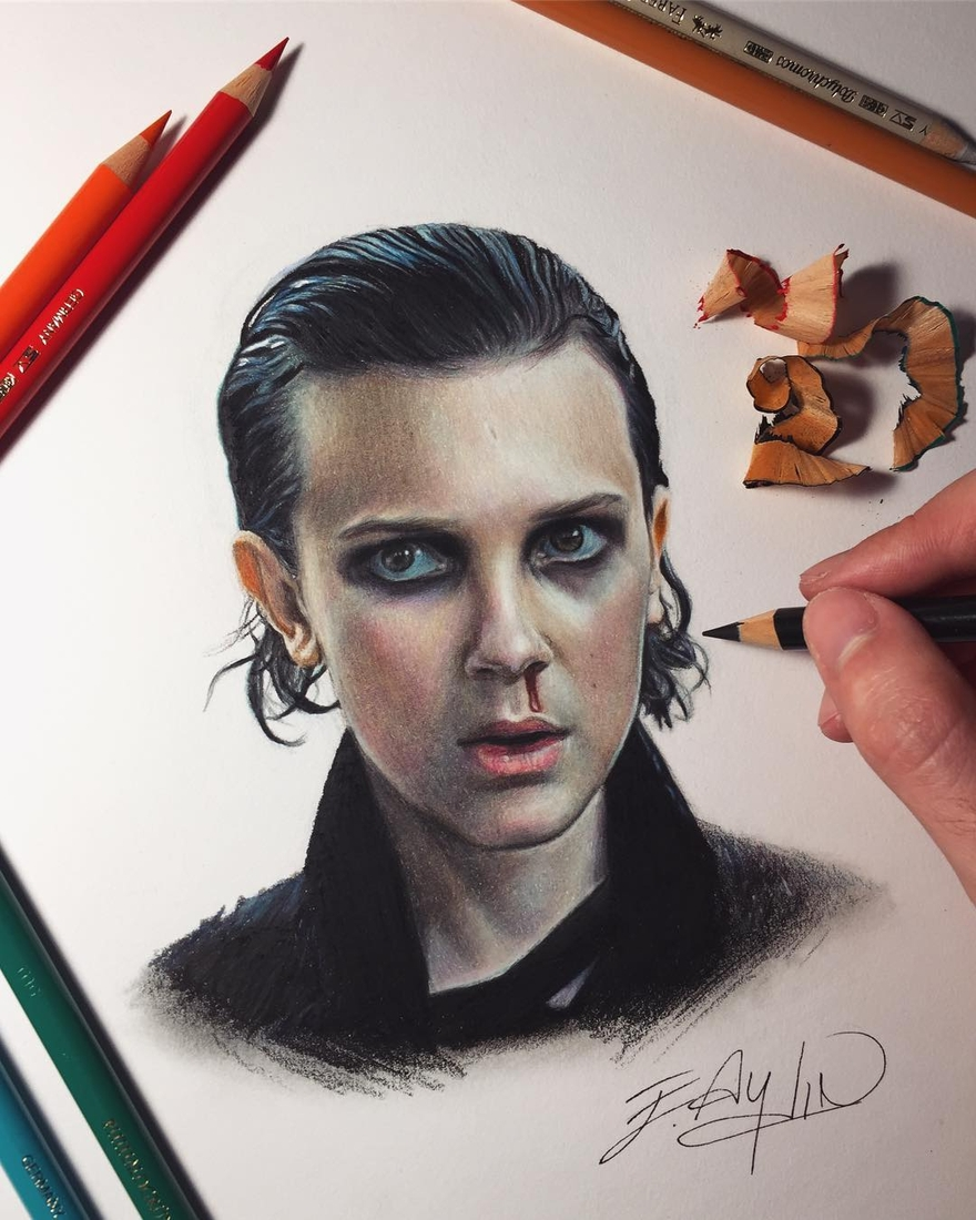 04-Millie-Bobby-Brown-Nettfix-Stranger-Things-Emre-Aydin-Celebrity-Pencil-Drawings-in-Movies-and-TV-www-designstack-co