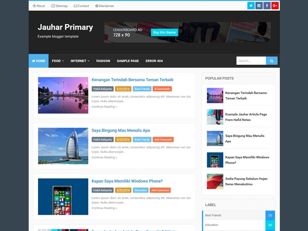 Jauhar Primary Responsive Blogger Templates