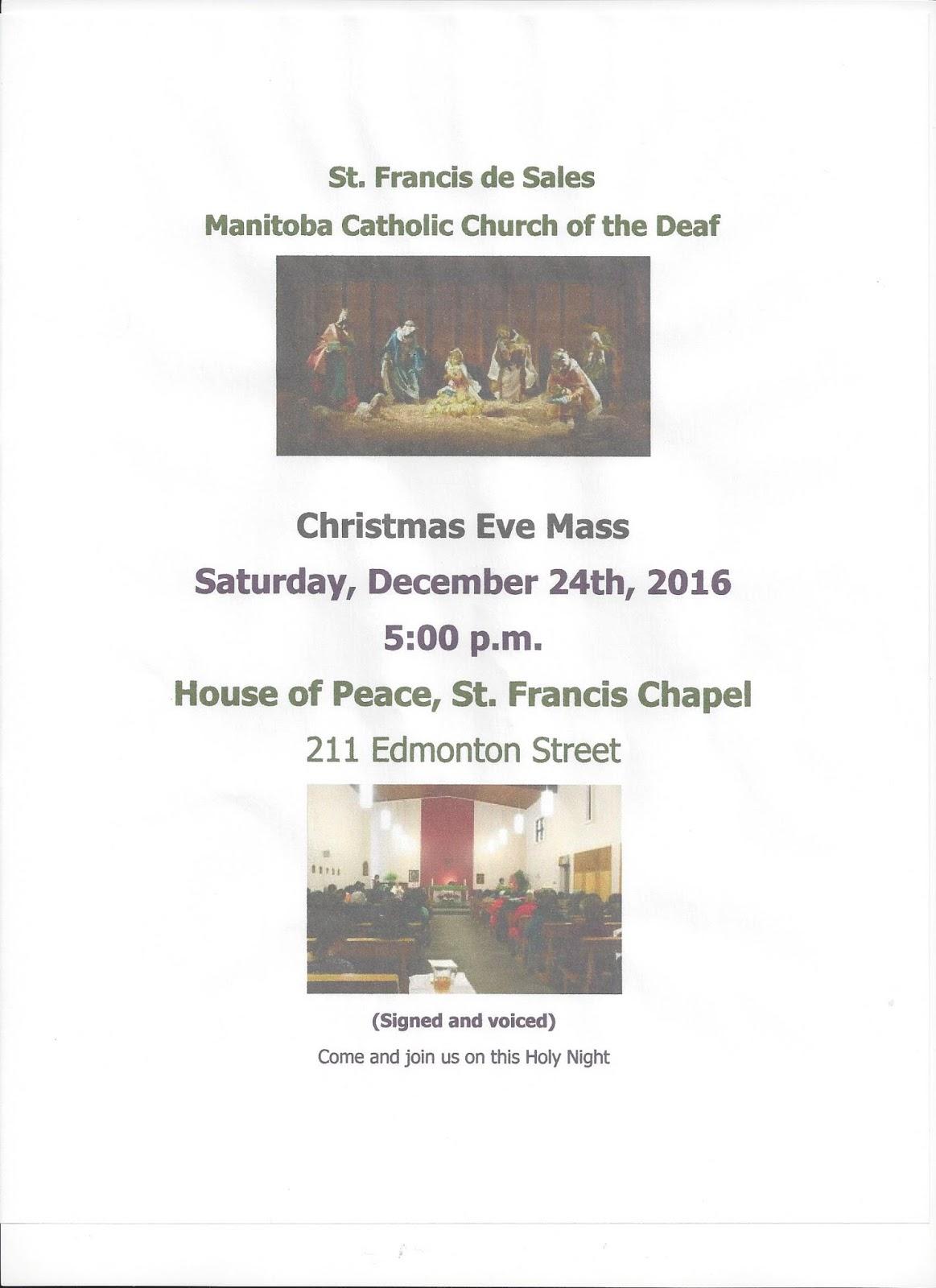 st francis de sales manitoba catholic church of the deaf mccd christmas eve mass house of peace dec 24th - Christmas Eve Sales