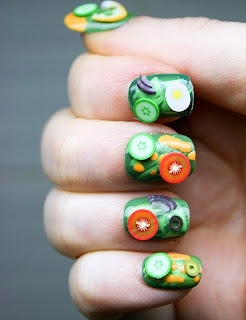 This nail styles are inspired by the favorite snacks such as hamburgers, french fries, ice cream, strawberries, watermelon