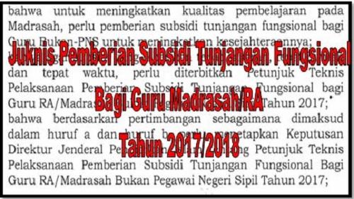 Juknis Pemberian Subsidi Tunjangan Fungsional Bagi Guru Madrasah/RA Tahun 2017/2018