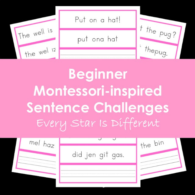 Beginner Montessori-inspired Sentence Challenges