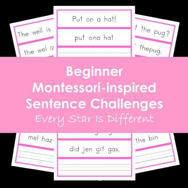 Beginner Montessori-inspired Sentence Challenges