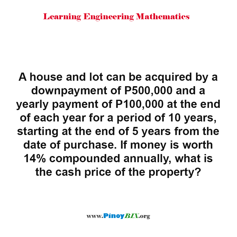 What is the cash price of the property?