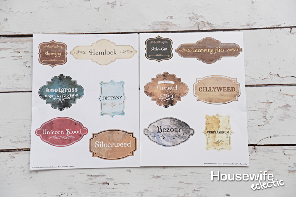 graphic about Printable Harry Potter Potion Labels named Wizard Potion Bottles with No cost Printable Labels - Housewife