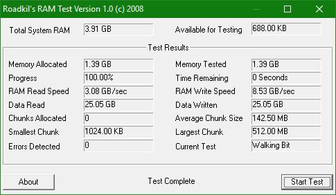 Kiểm tra lỗi và tốc độ đọc/ghi của RAM