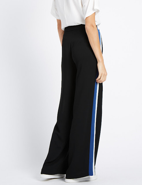 Marks and Spencer Wide Striped Trousers