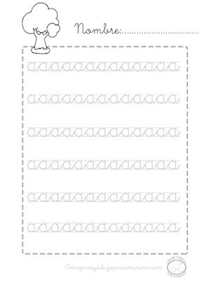 Caligrafia para imprimir vocales minusculas a