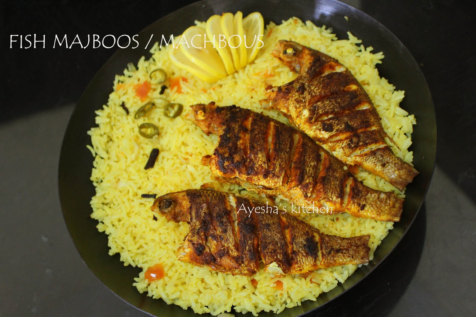 Fish machboos machbous traditional bahraini dish for Rice recipes to go with fish