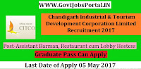 Chandigarh Industrial & Tourism Development Corporation Limited Recruitment 2017– Assistant Barman