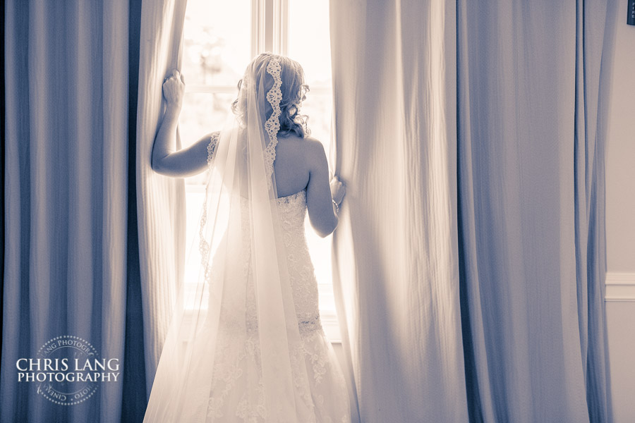 Picture of bride in her wedding dress at River Landing Wallace NC