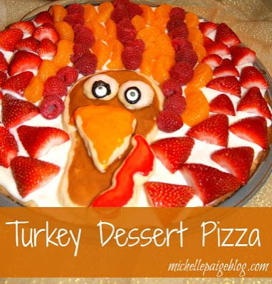 Sugar Cookie Turkey Dessert Pizza