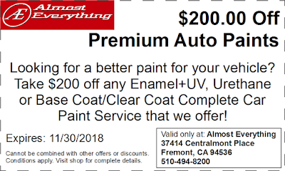Discount Coupon $200 Off Premium Auto Paint Sale November 2018