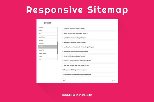 Memasang Responsive Sitemap With Selected Label Blogger