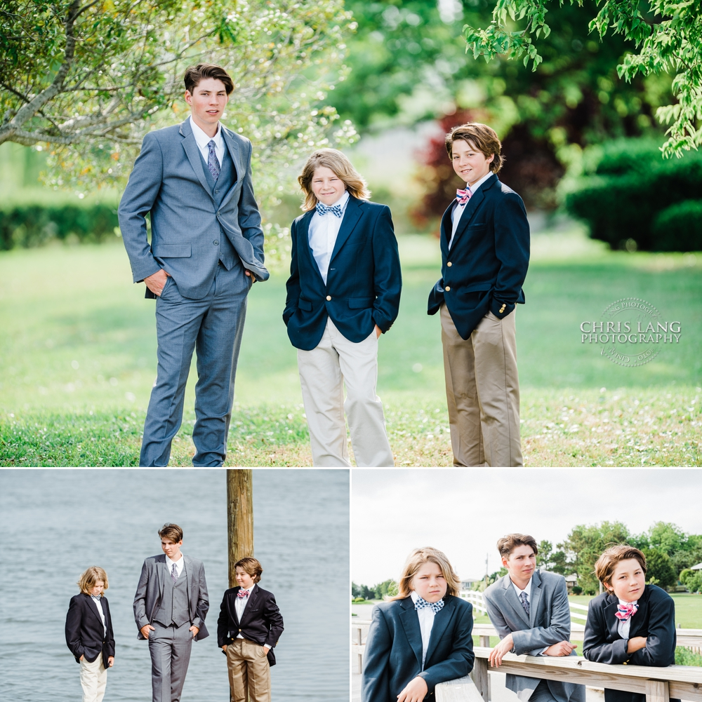 picture of three boys in suits and ties posing under southern oak trees.  Southern Style Portrait Photography - Wilmington NC photographers