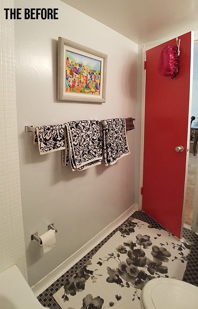 white, black and fuchsia bathroom decor