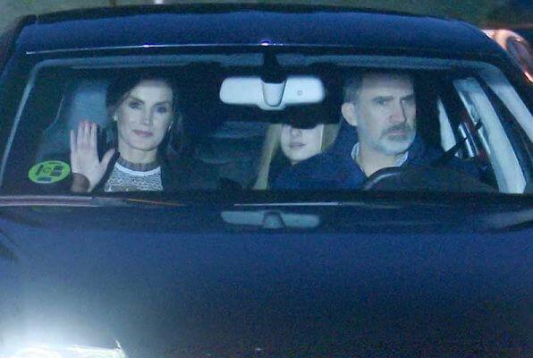 King Felipe, Queen Letizia and their daughters Princess Leonor and Infanta Sofia visited Queen Letizia's father, Jesus Ortiz