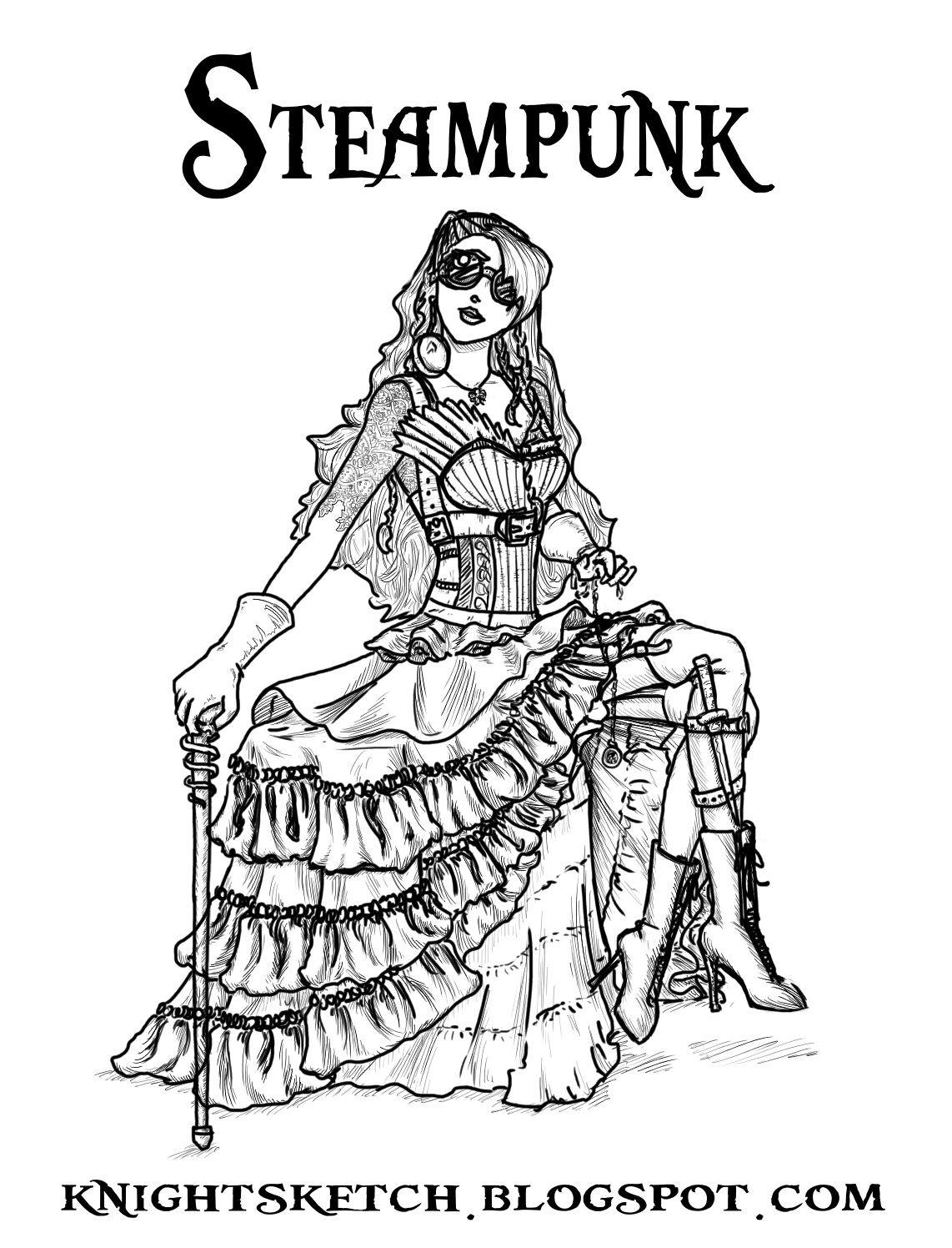 steampunk girl coloring pages - photo#7