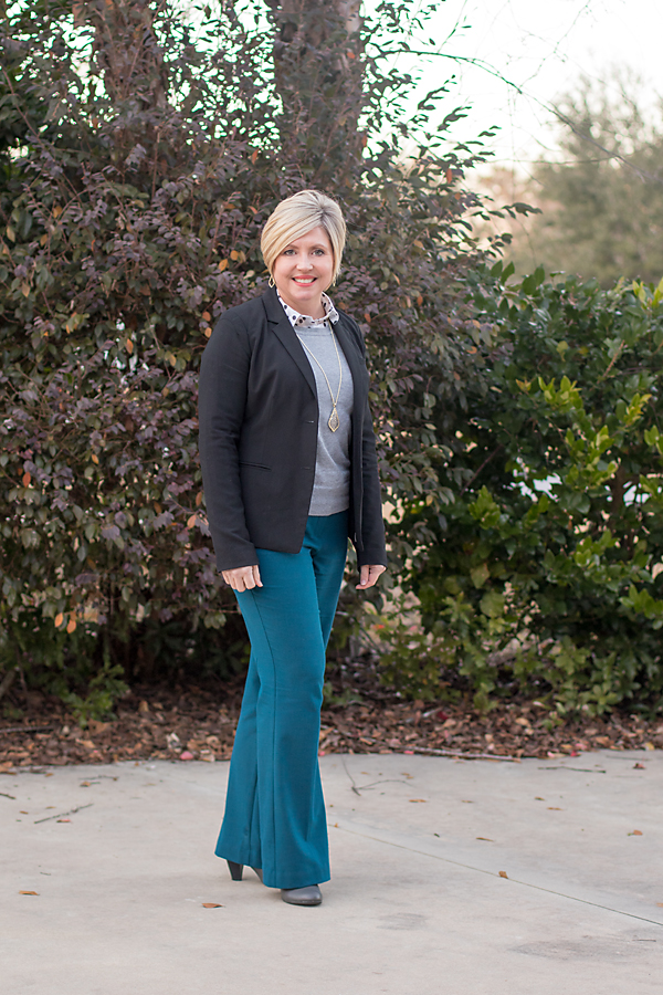 winter outfit with polka dot popover, winter to spring outfit