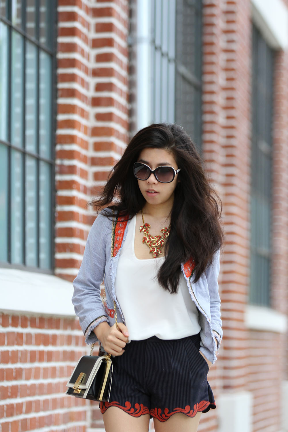 Adrienne Nguyen_Invcitus_California Fashion Blogger_Shorts and Jacket with Tee Shirt_Casual Elegance