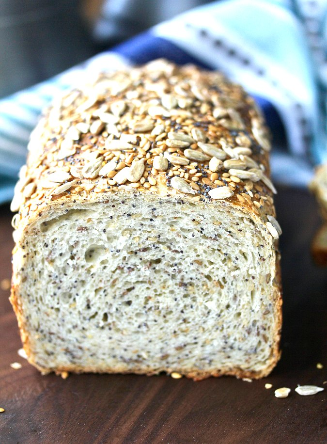 Multi-Seed and Grain Honey Bread coated with seeds