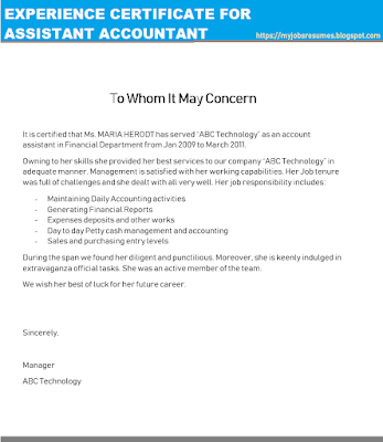 Experience certificate for accountant assistant, Assistant Accounting Certificate