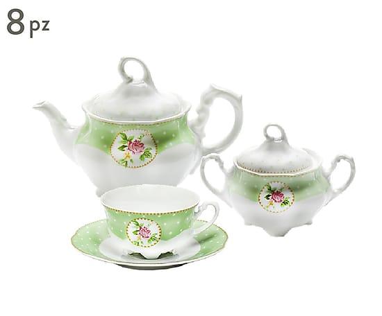 set te romantico zuccheriere teiera tazze