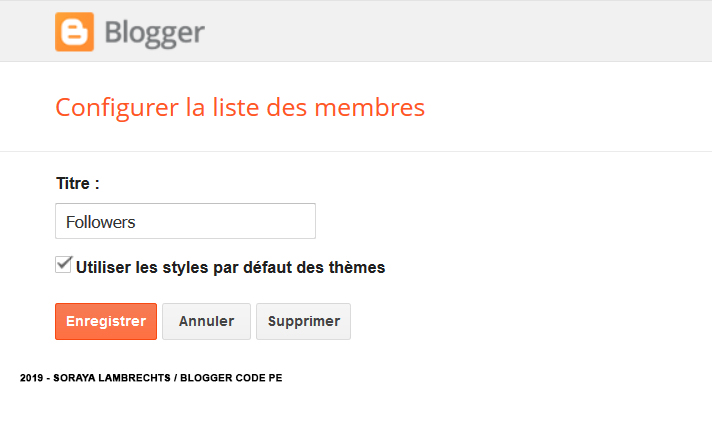 Le panneau de configuration du gadget Followers