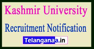 Kashmir University Recruitment Notification 2017