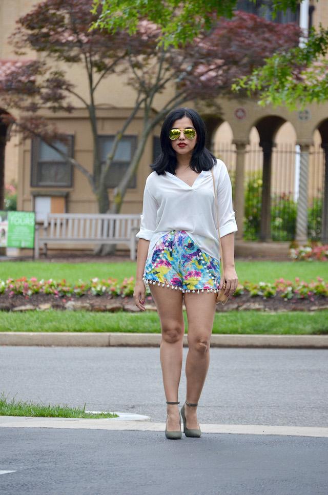 White Shirt Outfit-primavera 2016-outfit con shorts y pompones-outfit con la camisablanca-choies-mariestilo