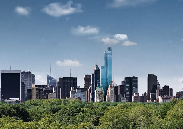 Rendering of One 57 by Christian de Portzamparc from the Central park above the trees