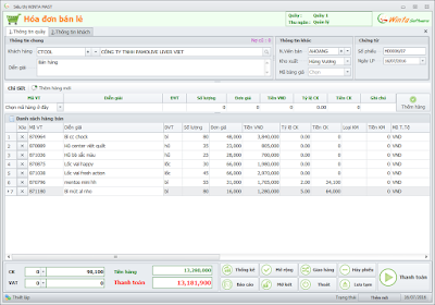 Giao diện hóa đơn bán lẻ phần mềm bán hàng miễn phí