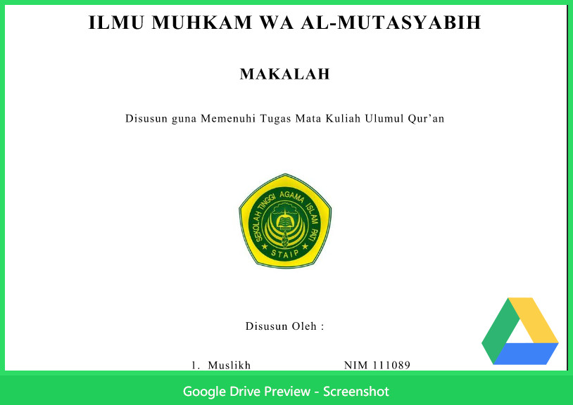 Contoh Makalah Agama Tentang Ulumul Qur'An