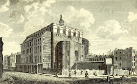 Drury Lane Theatre burnt down in 1809  from The Beauties of England and Wales by EW Brayley et al (1810)