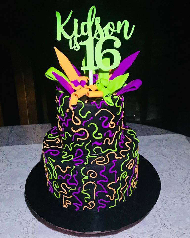 Izahs Kitchen Glow In The Dark Cake Neon Cake Halal Cakes Singapore