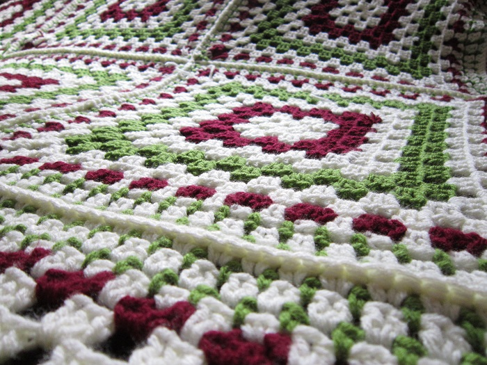 crochet, joining squares, granny squares, Mom's Afghan
