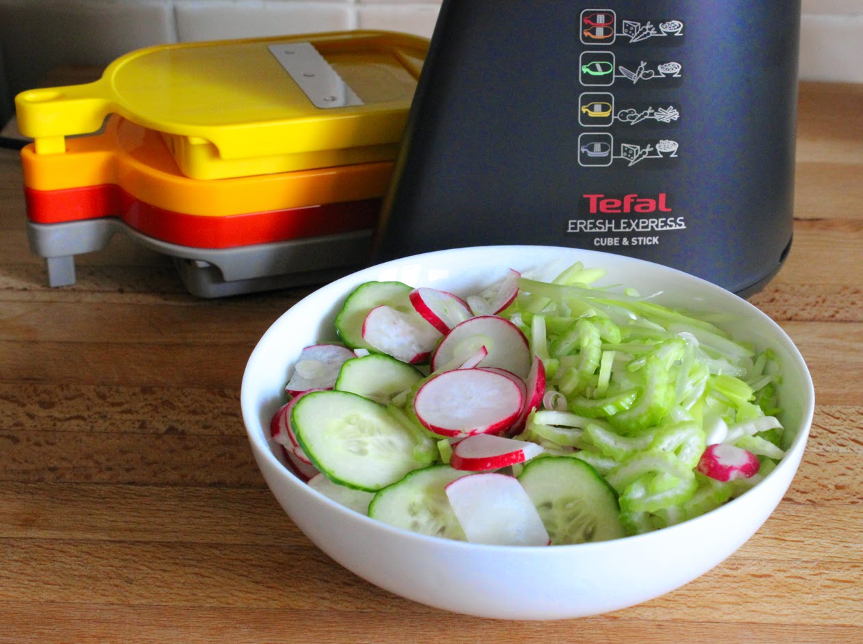 sliced cucumber and radish