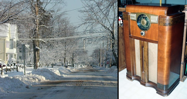 Snow in Connecticut and an old gigantic console radio.