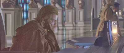 Obi-Wan Kenobi scours the library databases in the Jedi library but to no avail.