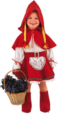 Foto de niña luciendo su disfraz de Caperucita Roja por Halloween