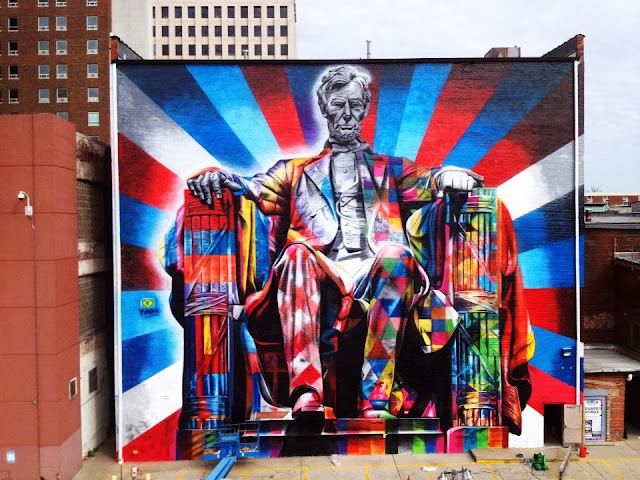 """Lincoln"" New Street Art Mural By Brazilian Artist Eduardo Kobra In Lexington, Kentucky. 1"
