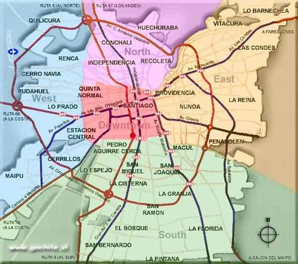 Mapa turístico de Santiago do Chile