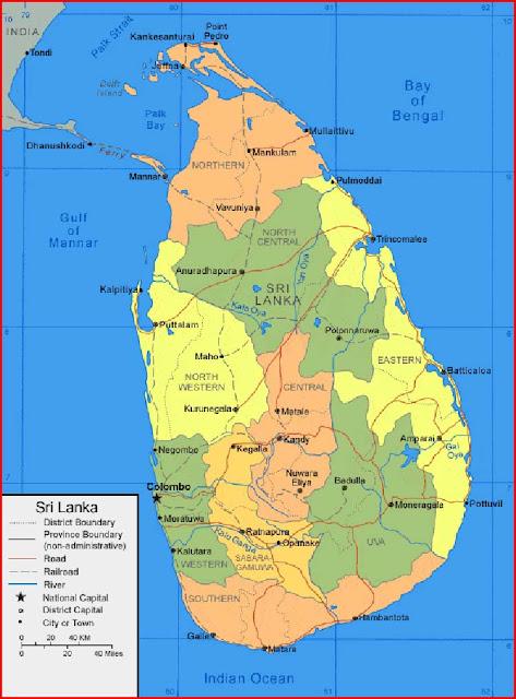 Gambar Peta Sri Lanka