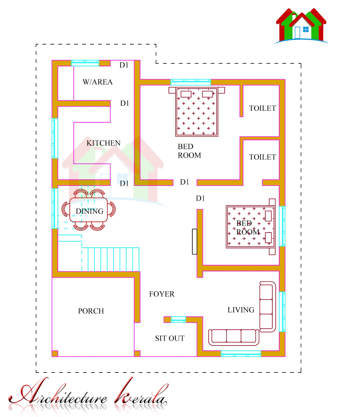 Awesome 1500 Square Feet Kerala House Plan Architecture Kerala Largest Home Design Picture Inspirations Pitcheantrous