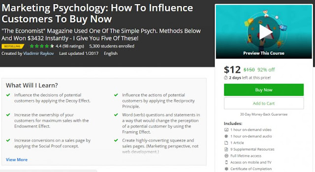 [92% Off] Marketing Psychology: How To Influence Customers To Buy Now| Worth 150$