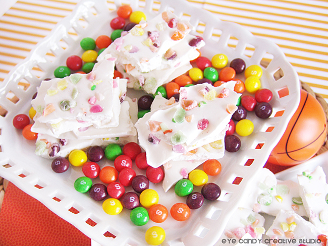 basketball treat, skittles bark, dunk the rainbow, skittles tourney